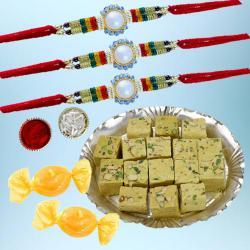 Splendid Rakhi Trio Set with Soan Papdi N Free Chocolates