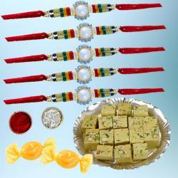 Amazing Set of 5 Rakhi with Tasty Soan Papdi N Free Chocolates