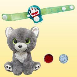 Pretty Gift of Fancy Kids Rakhi with Soft Toys