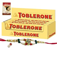 Delicious Toblerone Chocolate Gift Pack with Free Rakhi, Roli Tilak and Chawal for Rakhi Celebration
