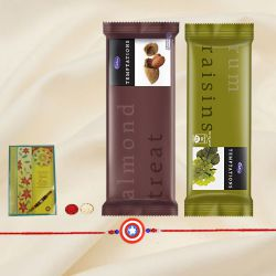 Refreshing Rakhi Special Gift of Cadbury Temptations with Free Kids Rakhi, Roli Tilak and Chawal