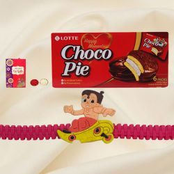 Exclusive Rakhi Special Gift of Choco Pie Box with Lovely Free Kids Rakhi, Roli Tilak and Chawal