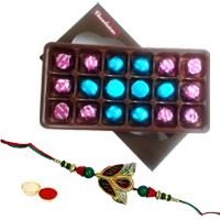 Appealing Gift Pack of Homemade Assorted Chocolates with a free Rakhi Roli Tilak and Chawal for your Dear Ones on Raksha Bandhan