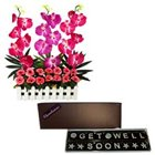 Lovely Get Well Soon Wishes with Homemade Chocolates and Designer FAux Orchids Arrangement