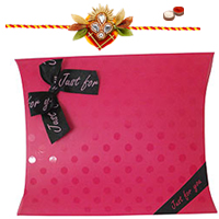 Amazing Rakhi Gift of Assorted Homemade Flavoured Dates Chocolates in Pink Pillow