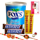 Imported Chocolate Hamper with Two Rakhis and Roli Tilak Chawal