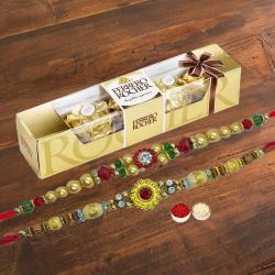 5 pcs Ferrero Rocher Chocolate Pack with 2 Rakhis and Roli Tilak Chawal