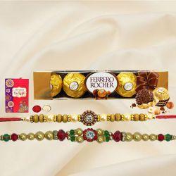 5 pcs Ferrero Rocher Chocolate Pack with 2 Rakhis and Roli Tilak Chawal