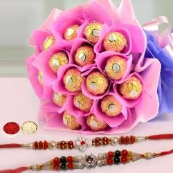 Deep Love Chocolate Bouquet with Free 4 Rakhis and Roli Tilak Chawal