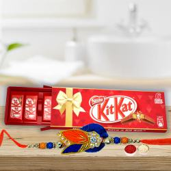 Delicious Kitkat Family Pack Chocolate Box (6 Bar) with Rakhi, Roli Tilak N Chawal on Rakhi Special