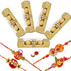 Ambrosial Collection of Ferrero Rocher Chocolates with Free 4 Rakhis and Roli Tilak Chawal