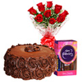 Deliver Red Roses with Chocolate Cake N Cadbury Celebrations Pack