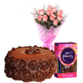 Send Roses Bouquet with Chocolate Cake N Celebrations Pack
