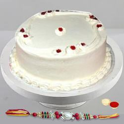 Scoop-of-Sweet 1 Lb Vanilla Cake with Free Rakhi and Roli Tilak Chawal