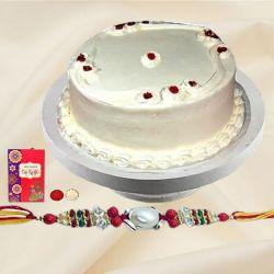 Scoop-of-Sweet 1 Lb Vanilla Cake with Free Rakhi and Roli Tilak Chawal