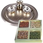 Online Order Assorted Dry Fruits with Silver Plated Thali