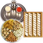 Special Silver Plated Puja Thali with Assorted Dry fruits with Haldiram Kaju Katli