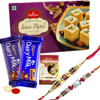 Fabulous Seasons Greeting Sweets N Chocolate Gift Pack with Two Rakhis With Free Rakhi Card and Roli Tilak Chawal