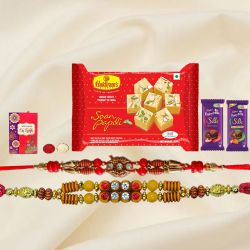 Exquisite Festive Favorite Sweets N Chocolate Gift Hamper with Two Rakhis With Free Rakhi Card and Roli Tilak Chawal
