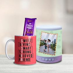 Classy Sister Coffee Mug with Personalized Bluetooth Speaker n Cadbury Silk