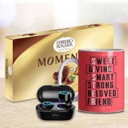 Lovely Sister Coffee Mug with Ptron Bluetooth Earbud n Ferrero Rocher