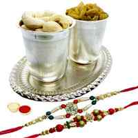 Remarkable Assortments of Dry Fruits in Silver Plated Glass and Tray Set with 2 free Rakhi, Roli Tilak and Chawal