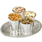 Sparkling Silver Plated Tray along with glasses  and yummy Dry Fruits