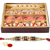 Delectable Gift Set of <font color=#FF0000>Haldiram</font> Assorted Sweets with Free Rakhi, Roli Tilak and Chawal for your Caring Brother