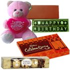 Wishes on Birthday with Teddy and Chocolate Hamper