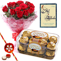 12 Red Roses Bouquet with 16  pcs.Ferrero Rocher Box and 2 Free Rakhi