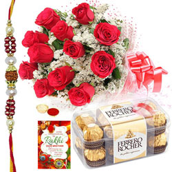Scintillating Combo Gift of Ferrero Rocher Chocolates and Bunch of Roses with Free Rakhi, Roli Tika and Chawal for your Beloved Brother