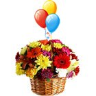 Dazzling Floral bouquet with colourful Balloons