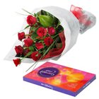 Joyful Gift of Roses and Chocolates