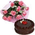 Splendid Assortment of Cake and Roses