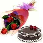 Deliver Online Red Roses N Chocolate Cake