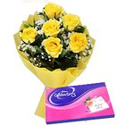 Bewitched Yellow Roses and Cadbury Assortment Chocolates
