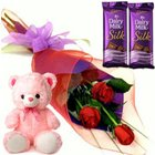 Red Roses with Online Teddy Bear n Cadbury s Silk Bar