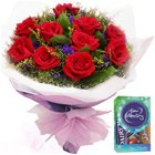 Red Rose Bookey with Chocolates