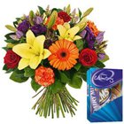Gift of Fresh Flowers Bouquet with Online Chocolates