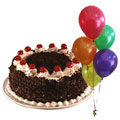 Top-Notch Gift of Black Forest Cake with Balloons