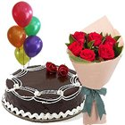 Memorable Moments with Chocolate Cake, Red Roses Bunch and Balloons