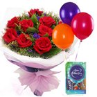 Roses with Chocolates n Balloons
