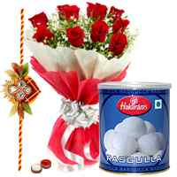 1 Kg. Rasgulla and 12 Red Roses with Free Rakhi, Roli Tika, Chawal