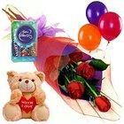 Online Gift Hamper of Fresh Roses, Chocolates, Teddy n Balloons