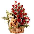 Online Rose n Teddy Arrangement