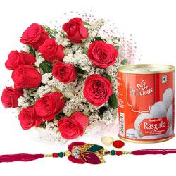 Appealing Arrangement of Rose Bouquet and Rasgullas with Free Rakhi, Roli Tilak and Chawal for Rakhi Celebration