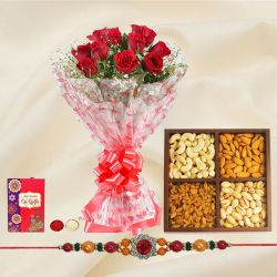 Impressive 12 Red Roses and tasty Dry Fruits pack with Free 2 Rakhis and Roli Tilak Chawal