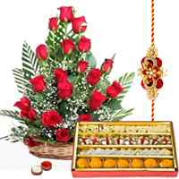 1/2 Kg. Assorted Sweets and 18 Red Roses Basket with Free Rakhi, Roli Tika, Chawal
