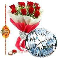 250 Gms. Kaju Katli and 12 Red Roses with Free Rakhi, Roli Tika, Chawal