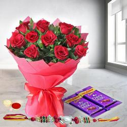 Sundry Love Red Rose Bouquet with Dairy Milk Chocolates with Rakhi and Roli Tilak Chawal